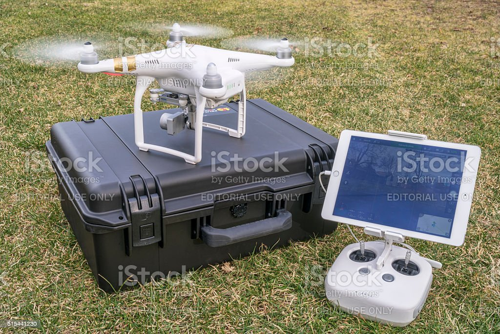 drone taking off with radio controller stock photo