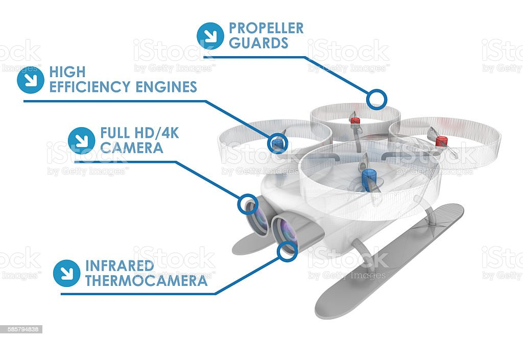 Drone technical specifications infographics stock photo