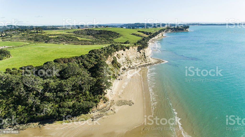 Drone View East Coast Bays, Auckland. stock photo