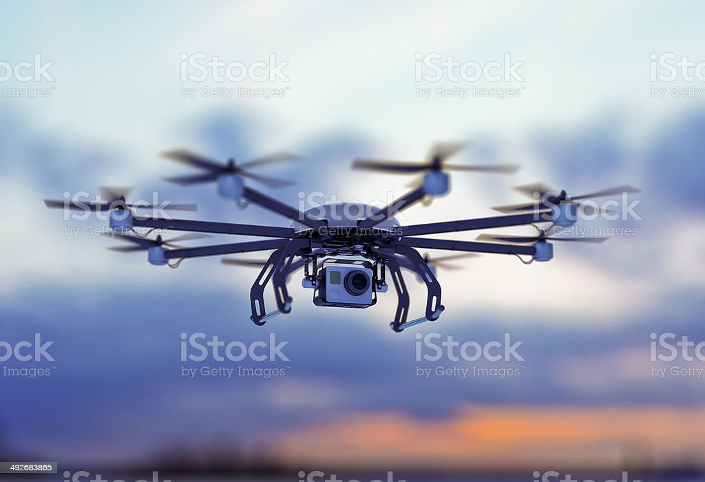 drone white cloudy dusk sky stock photo