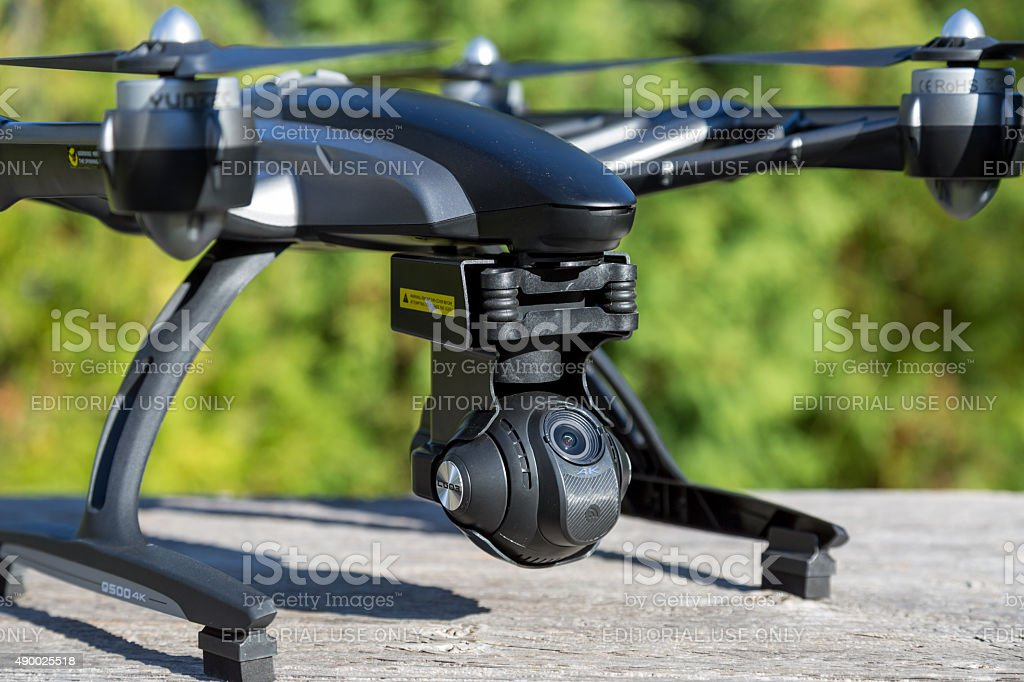 Drone With 4K Camera Ready To Fly stock photo