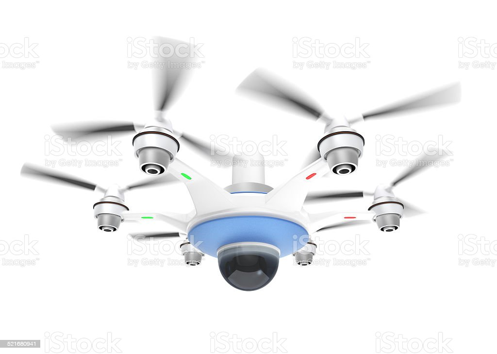 Drone with camera. Security system concept. stock photo