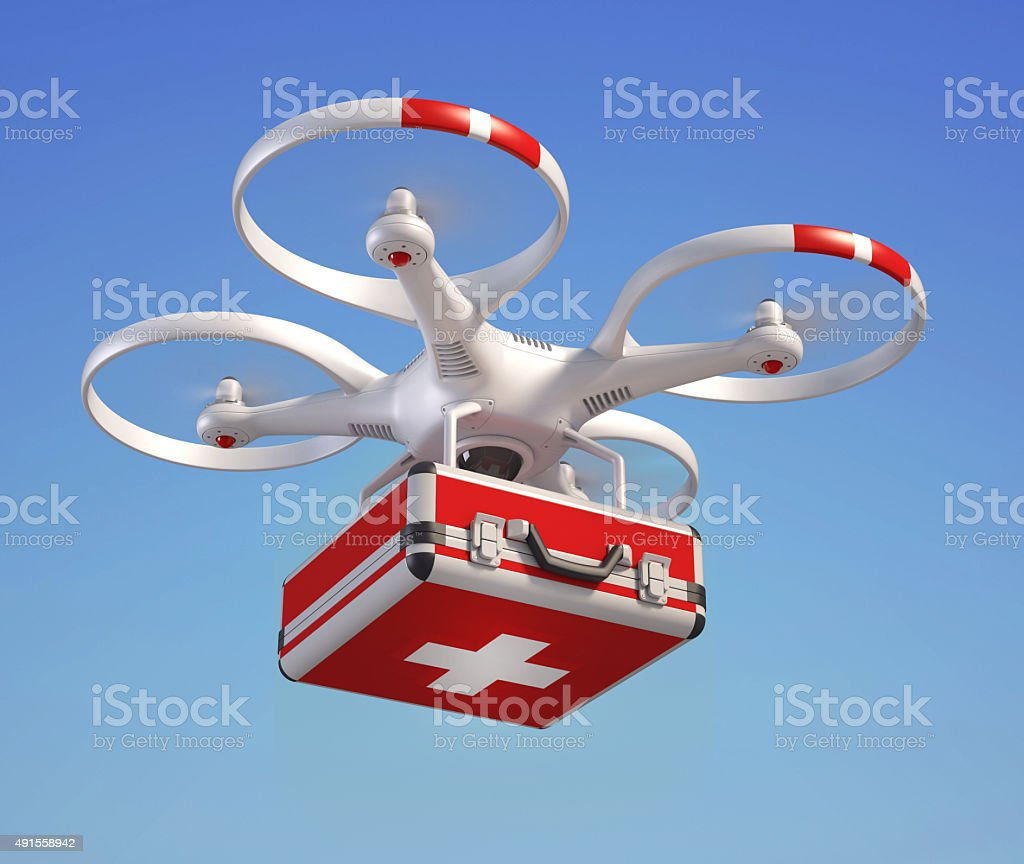 Drone with first aid kit stock photo