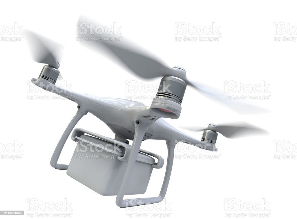 Drone with plastic container stock photo