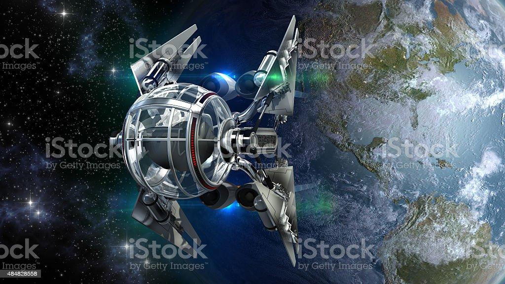 Drone-like spaceship leaving Earth stock photo