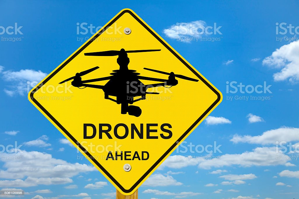 Drones Ahead Road Sign stock photo