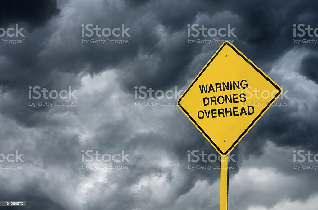 Drones Overhead Road Sign royalty-free stock photo
