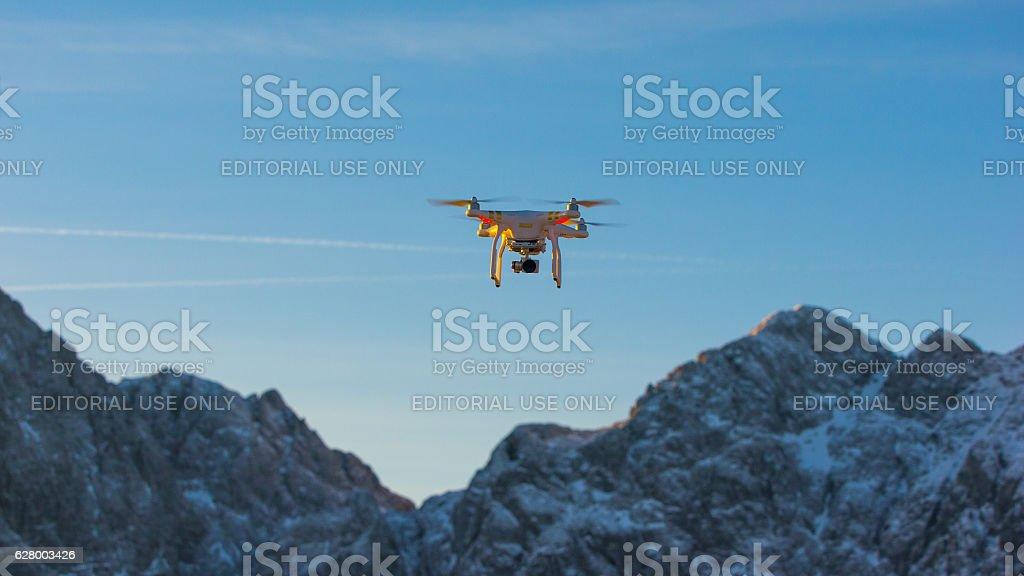 Drone/UAV in flight stock photo