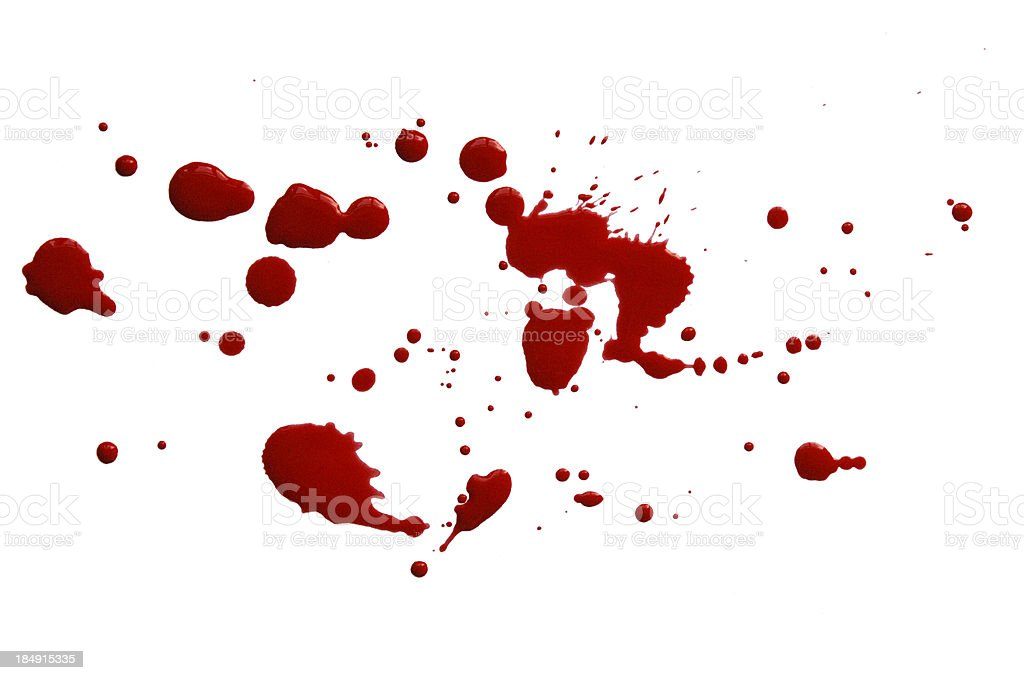 Drop and Splashes of Red Paint or Blood royalty-free stock photo
