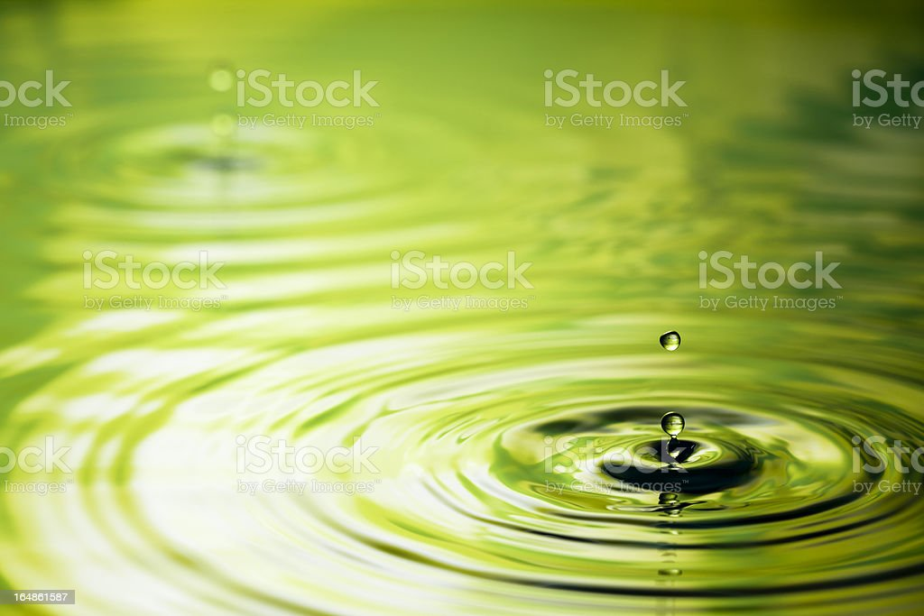 Drop into Green - Water Nature Ripple stock photo