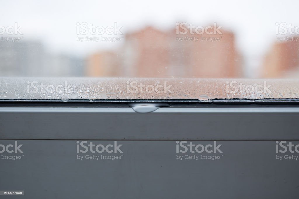 drop of condensation on the window stock photo