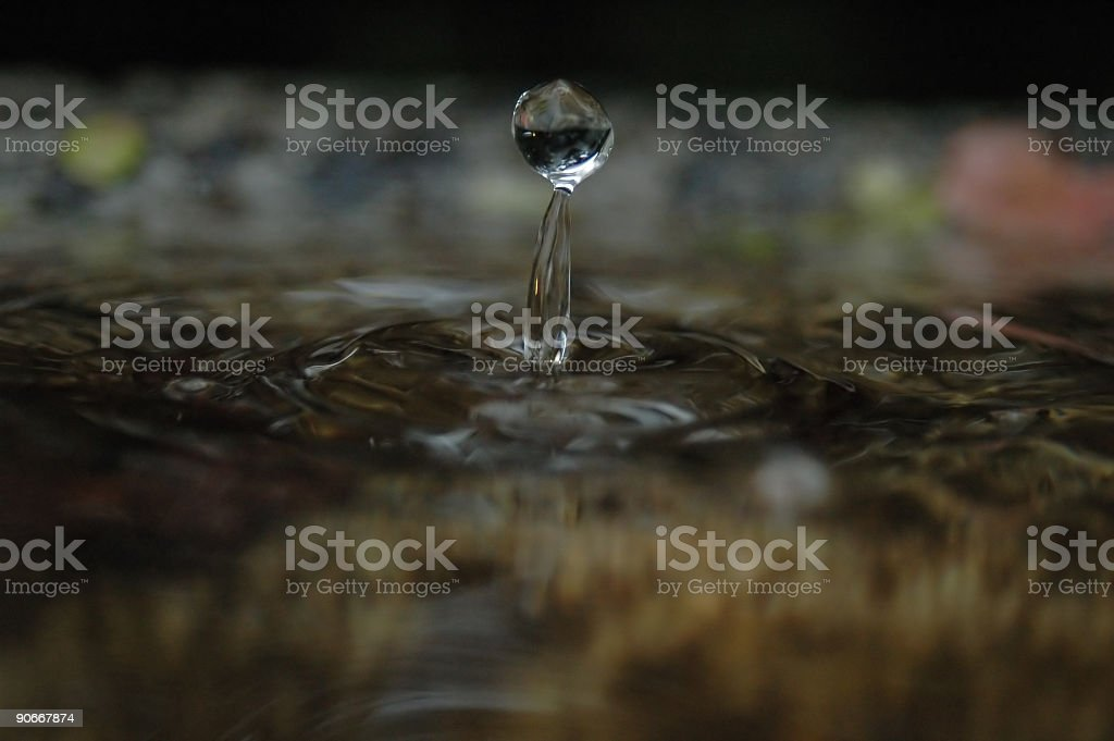 Drop of water on surface stock photo