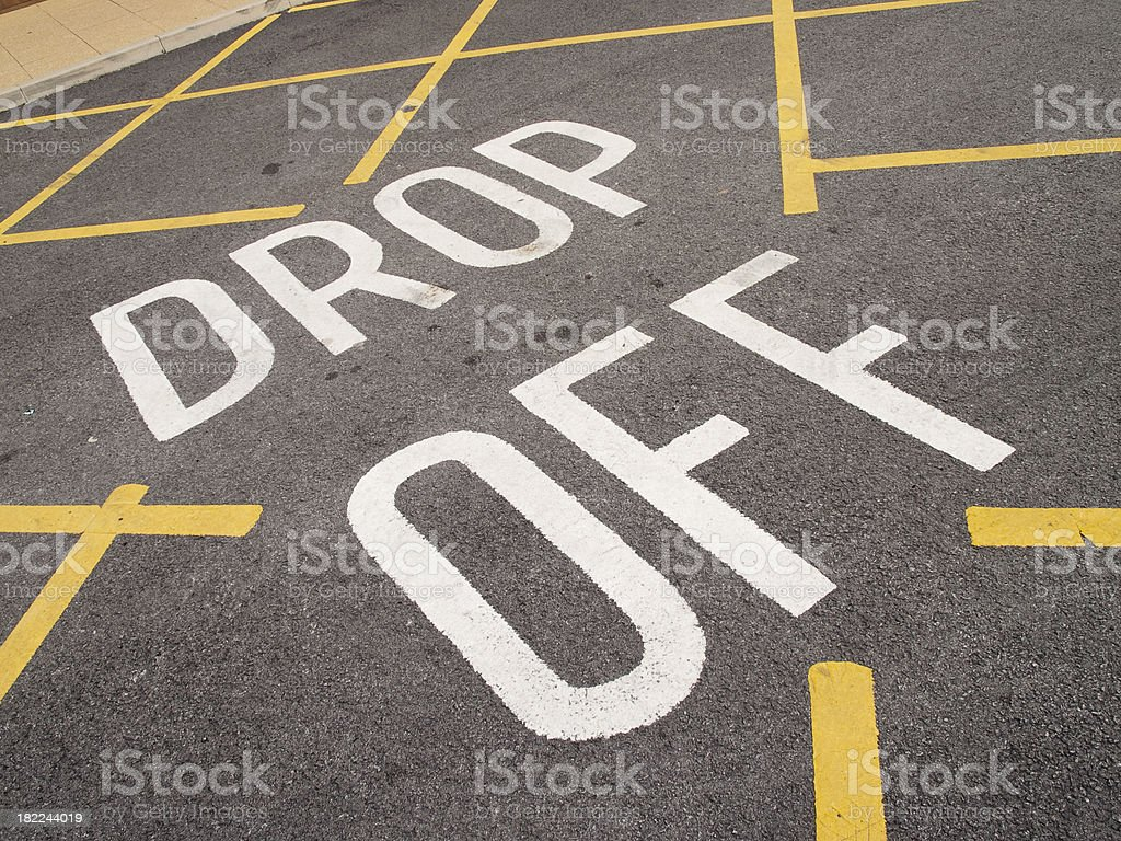 Drop off point car park  road markings yellow hatching royalty-free stock photo