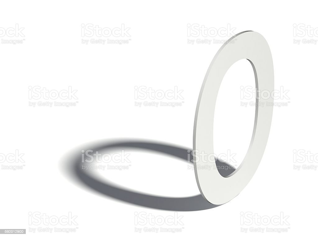 Drop shadow font. Letter O. 3D stock photo