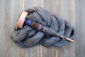 Drop spindle for spinning sheep wool into yarn