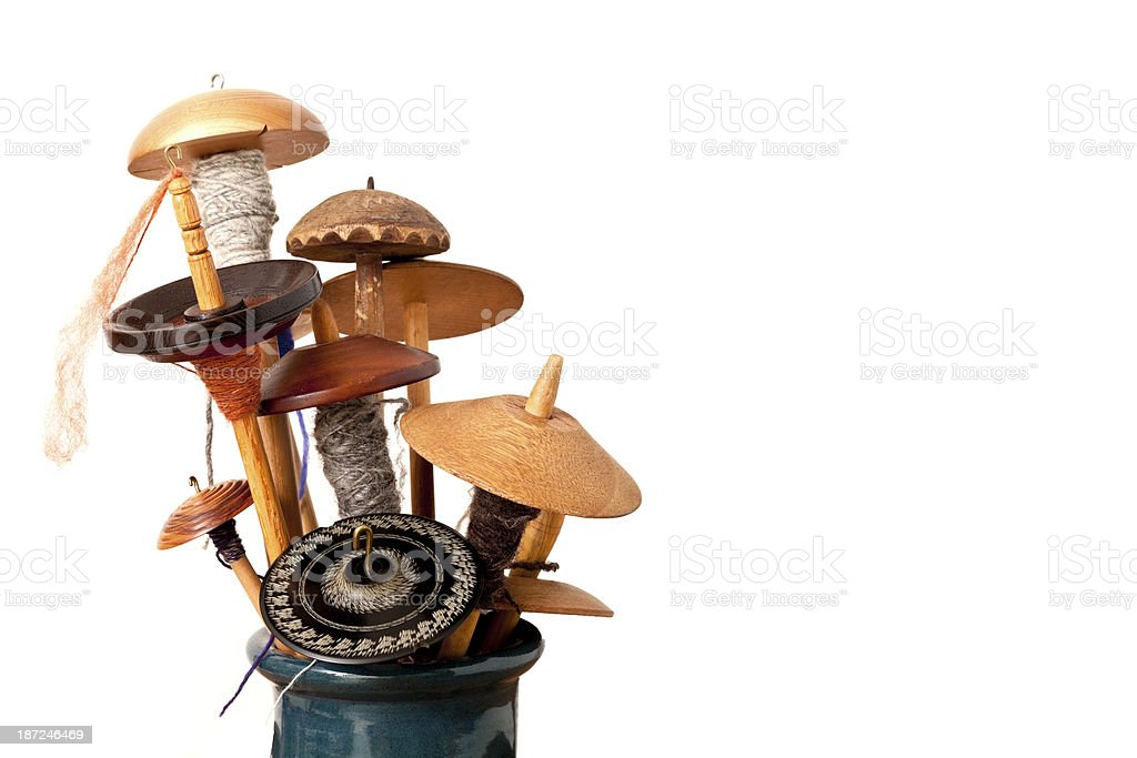 Drop Spindles used for hand spinning wool or cotton. stock photo