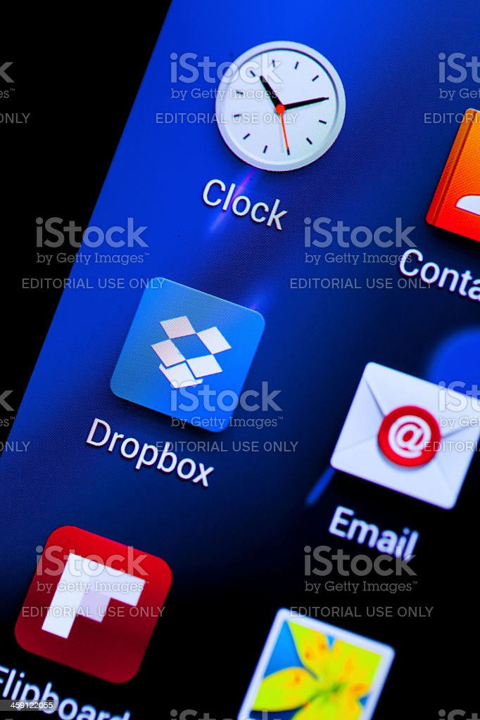 Dropbox icon with some other mobile app stock photo