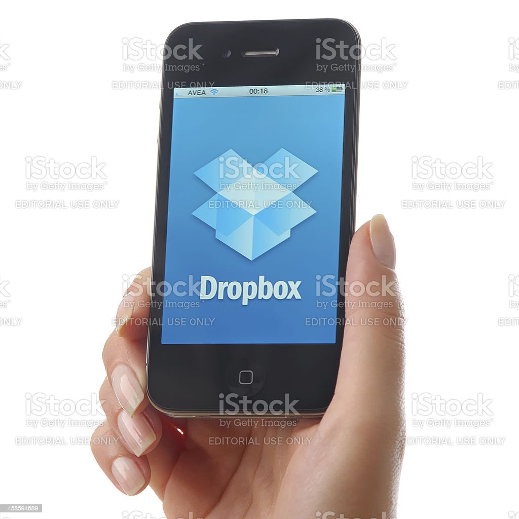 Dropbox on iPhone 4 royalty-free stock photo