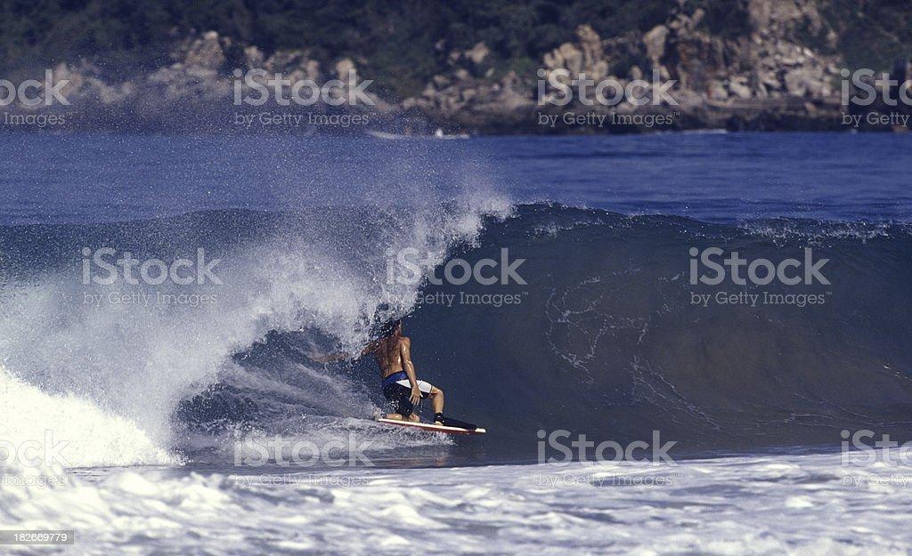 dropknee bodyboarder on a heavy wave stock photo