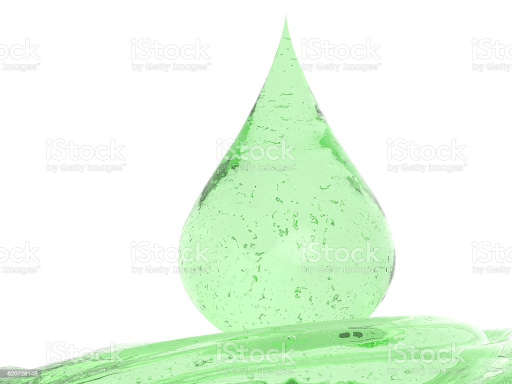 droplet of green cosmetic gel isolated on white stock photo