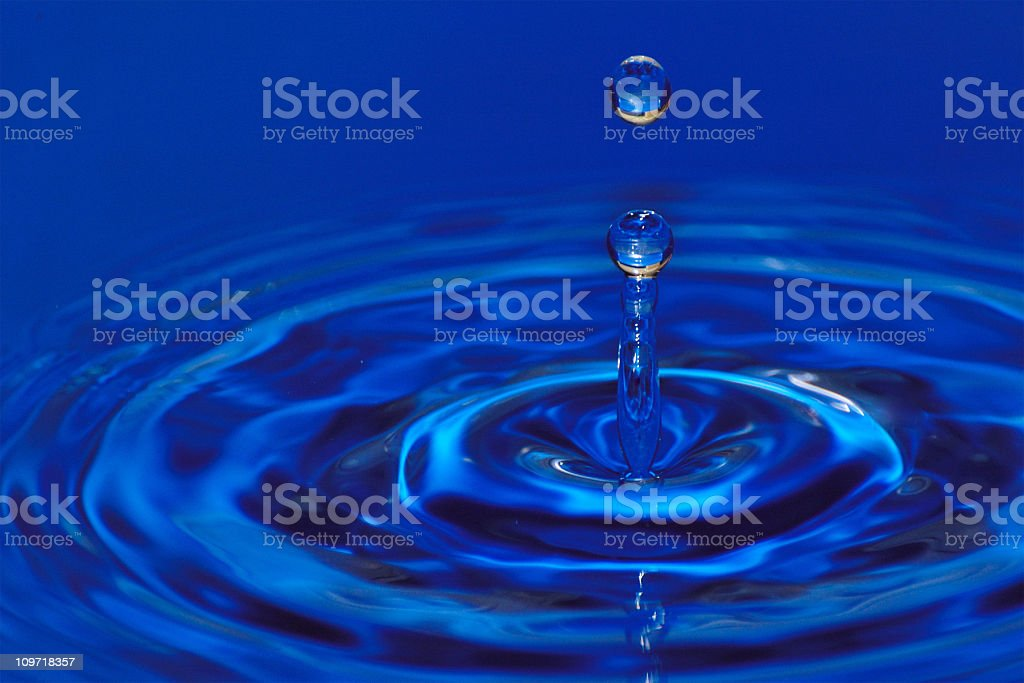 Droplets Landing in Water with Ripples royalty-free stock photo