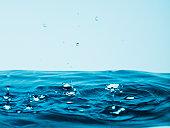 Droplets splashing pool of water