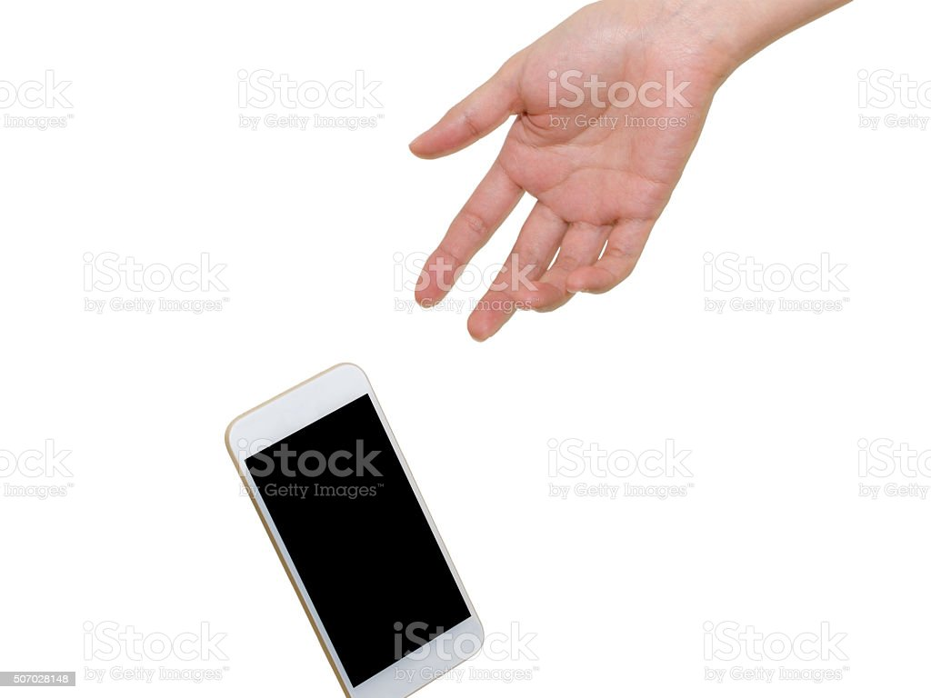 Dropping a smartphone isolated on white stock photo