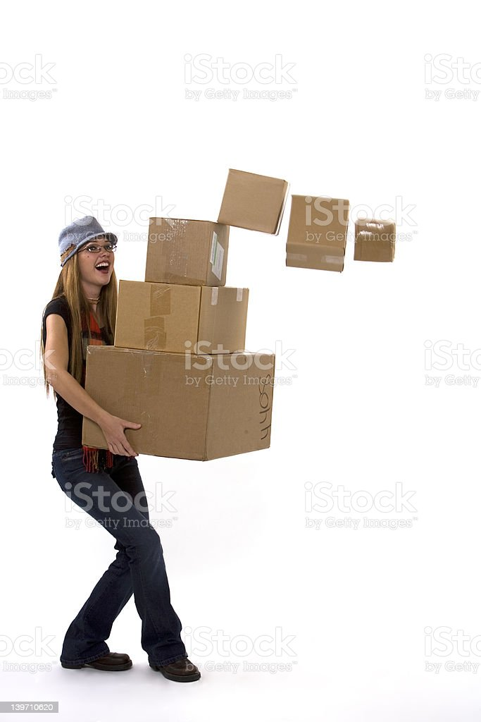 Dropping Boxes stock photo