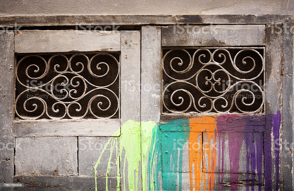 Dropping colors on an old door royalty-free stock photo