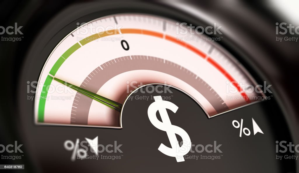Dropping Prices Concept or Deflation of Dollar Currency stock photo