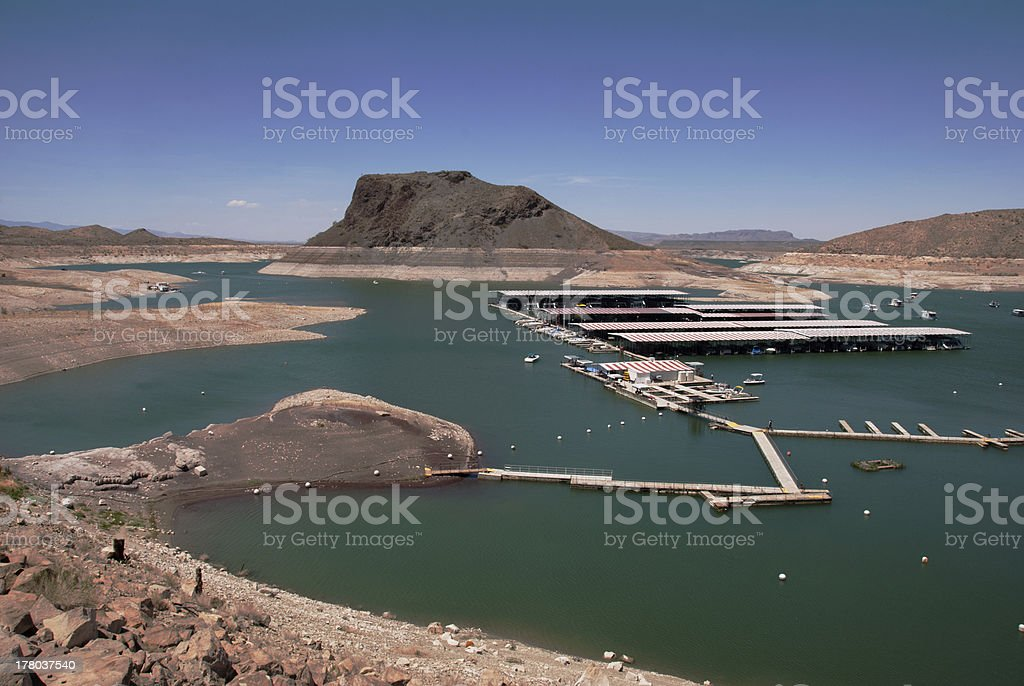 Dropping Water Levels at Elephant Butte Lake royalty-free stock photo