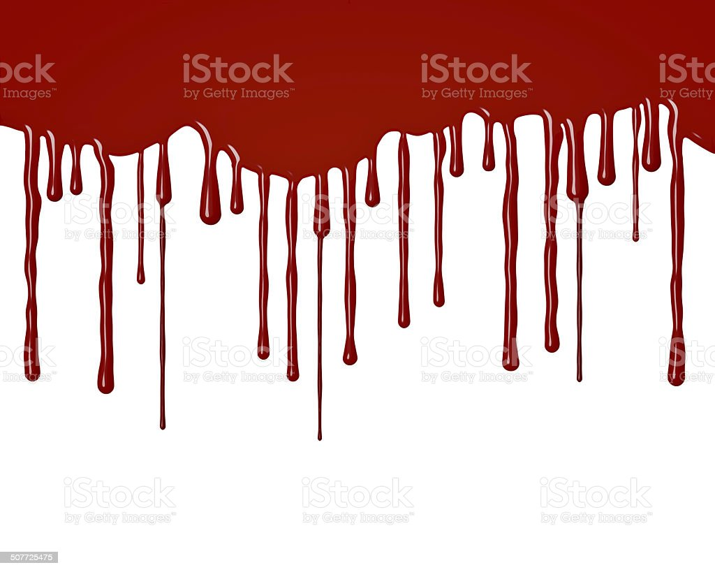 Drops of blood flowing down stock photo