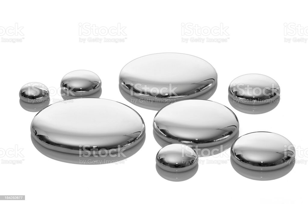 Drops of mercury isolated on white. stock photo