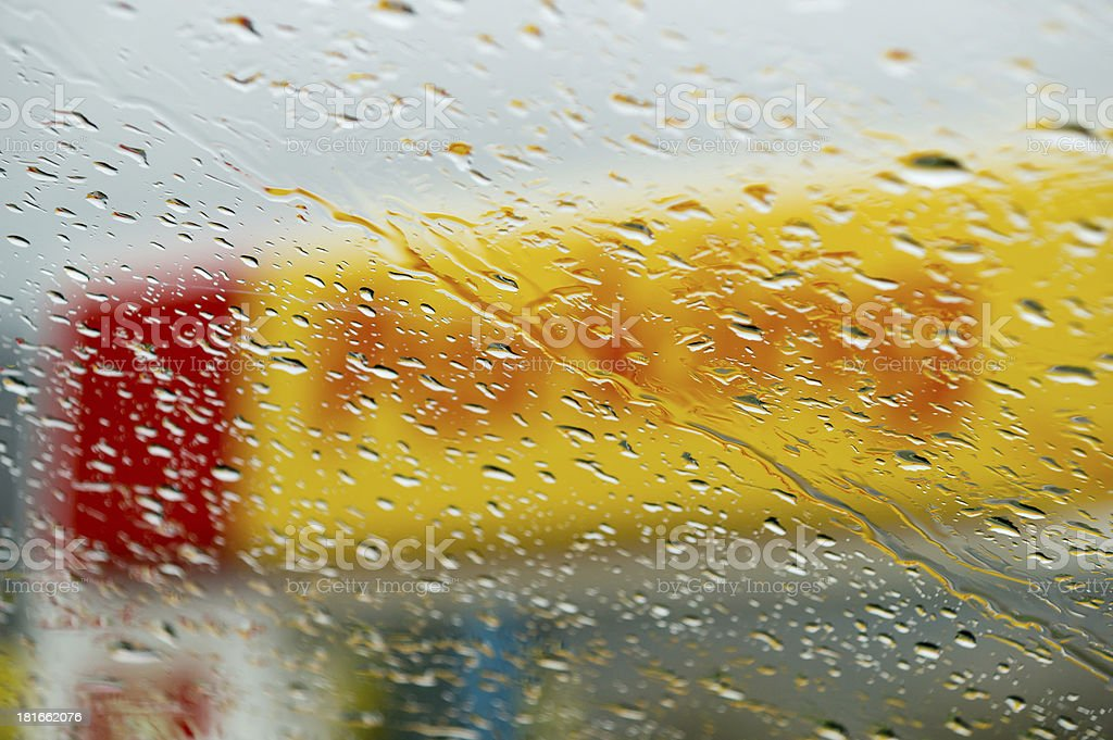 Drops of water on the window in a parking royalty-free stock photo