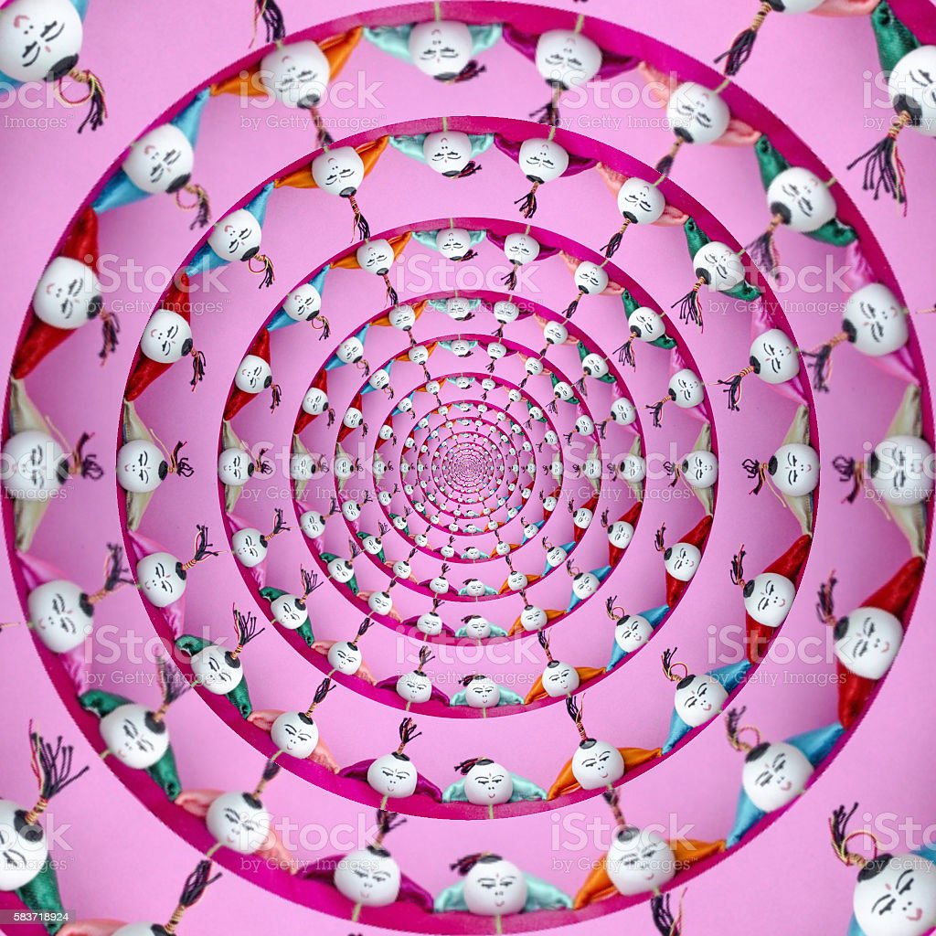 Droste effect Chinese acrobats stock photo