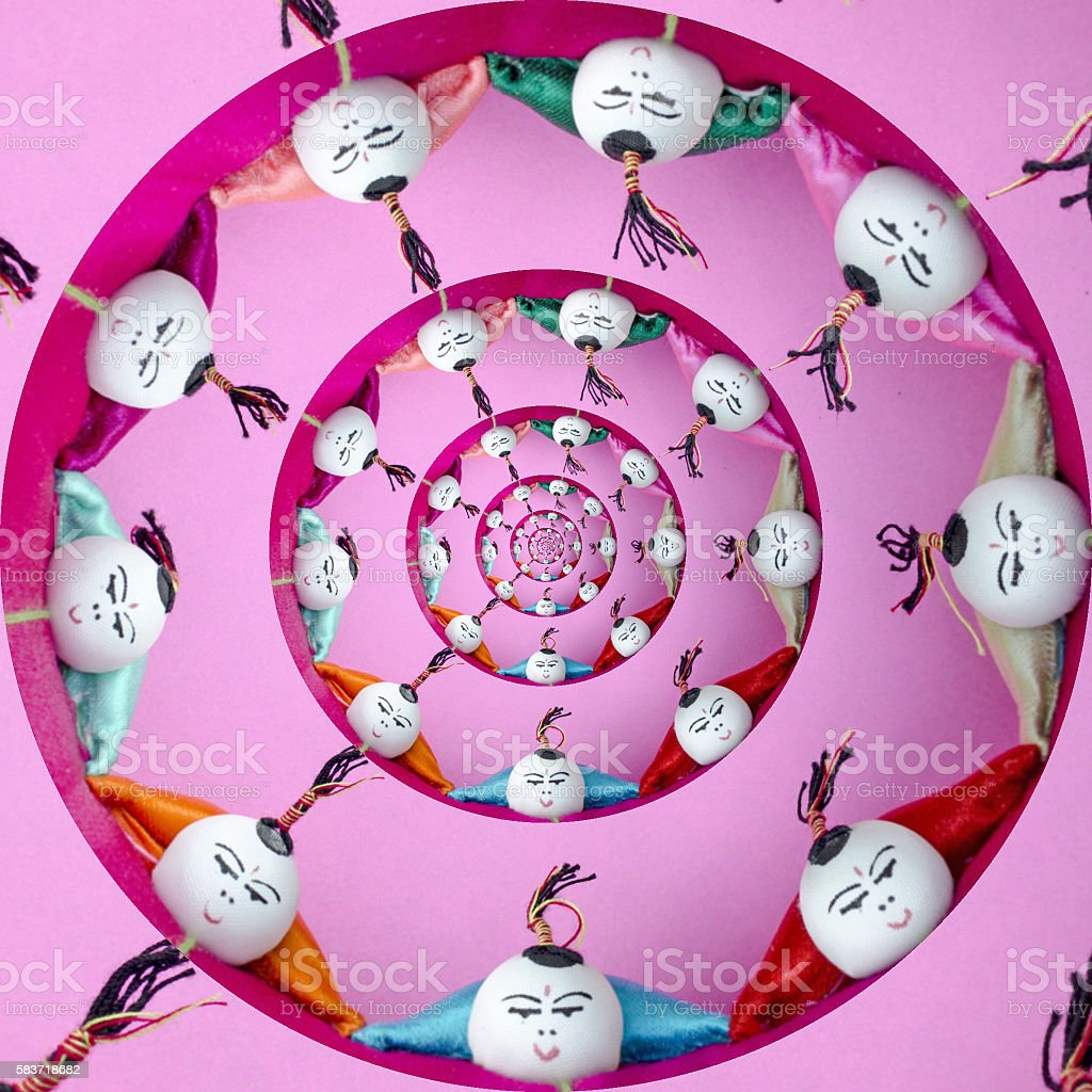Droste effect of Chinese acrobats stock photo