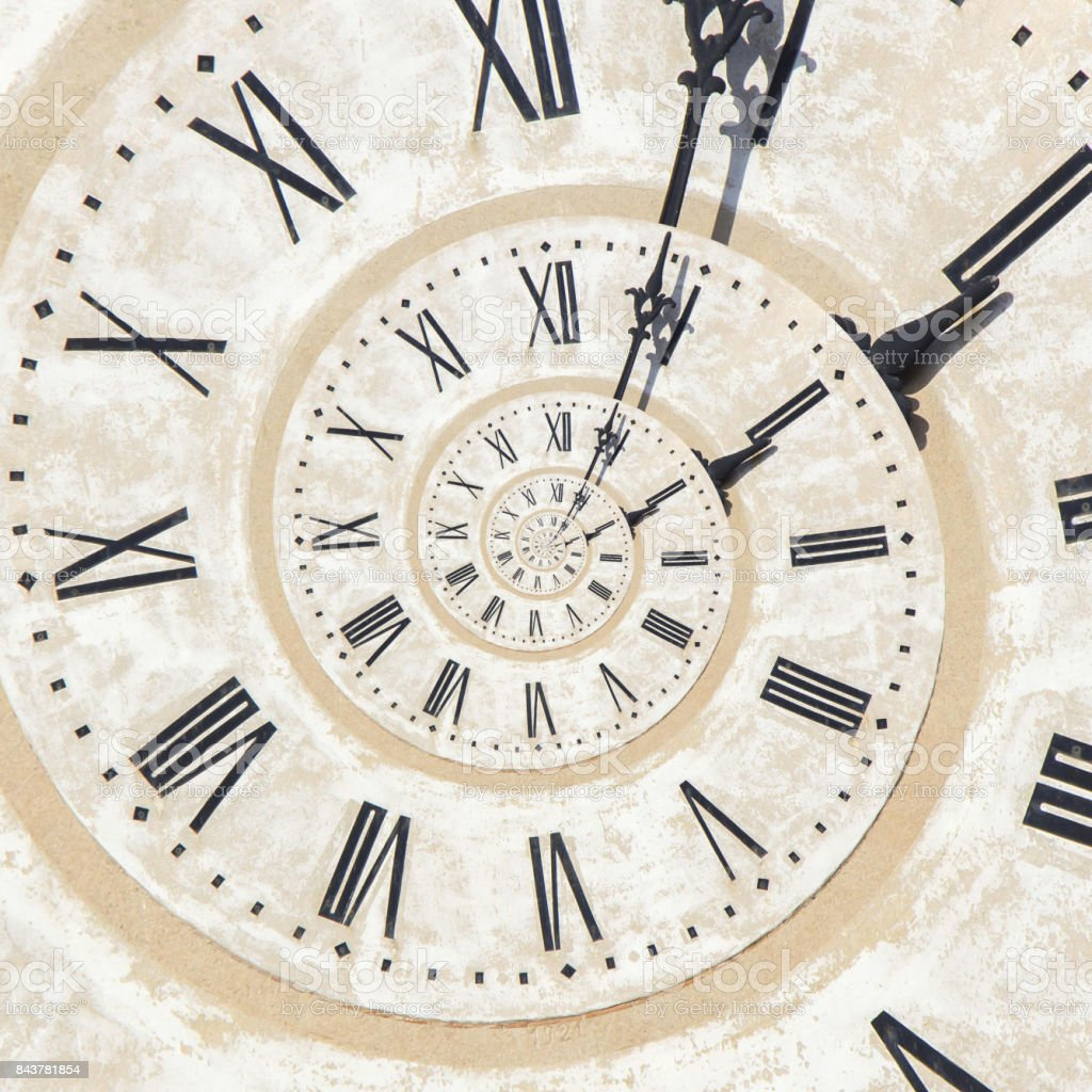 Droste effect of clock on the tower stock photo