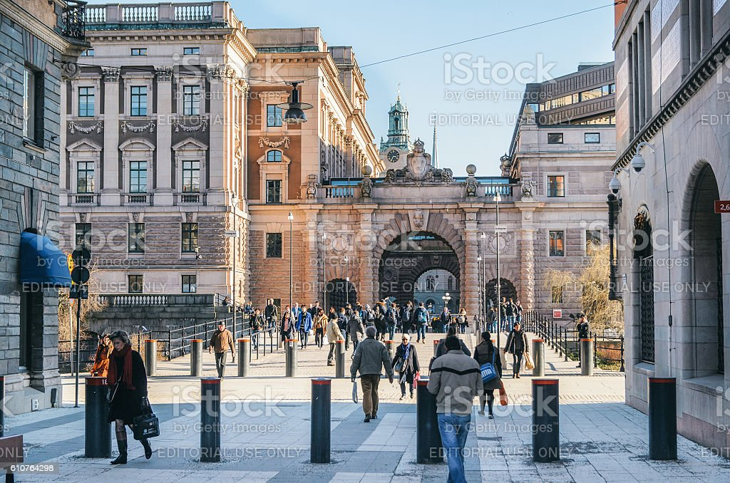 Drottninggatan street and Arch of parliament Riksdag. stock photo