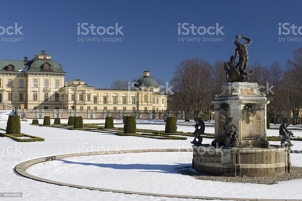 Drottningholm palace in snow stock photo