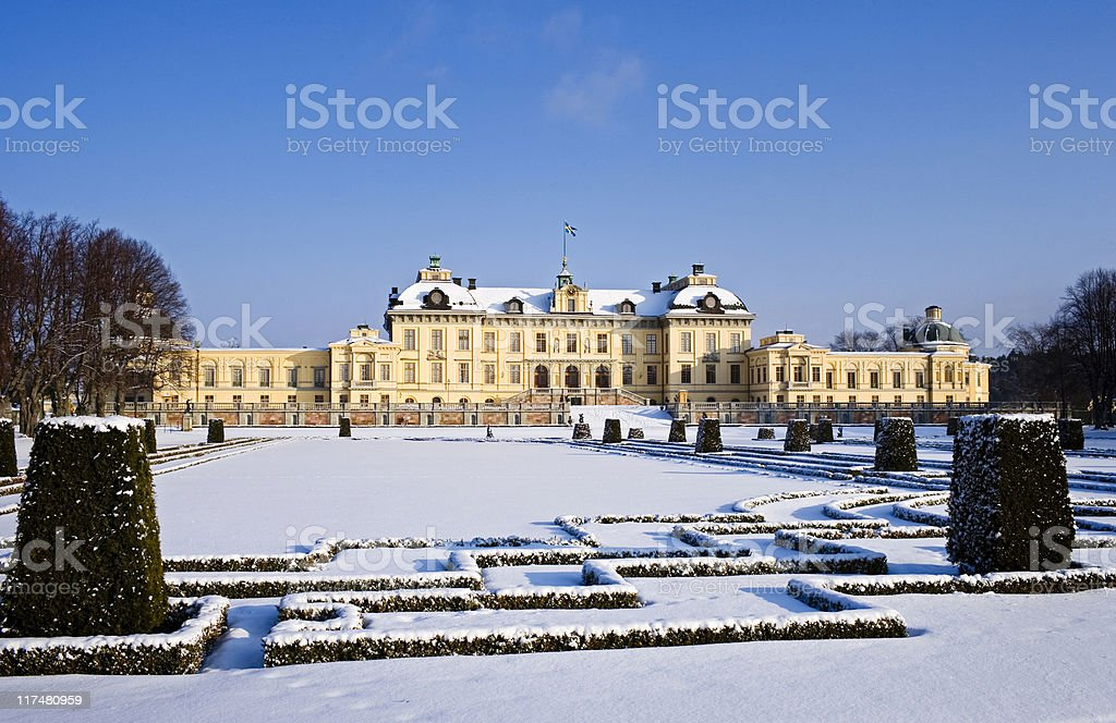 Drottningholm palace in winter (Sweden) stock photo