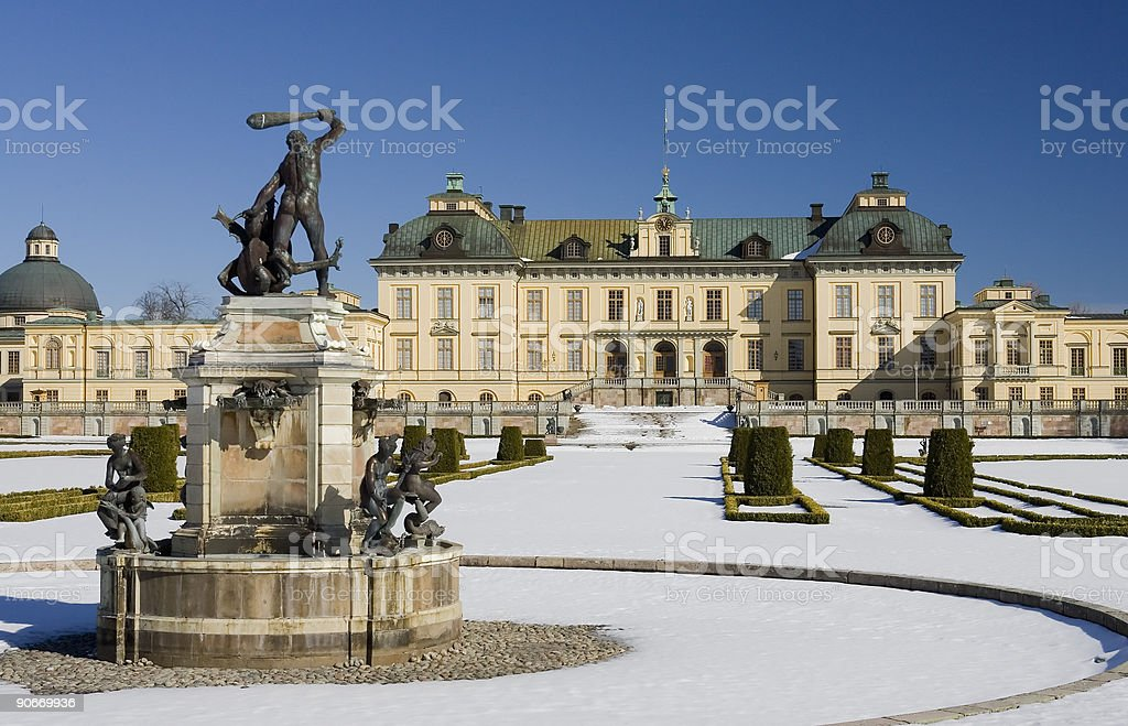 Drottningholm palace in winter stock photo