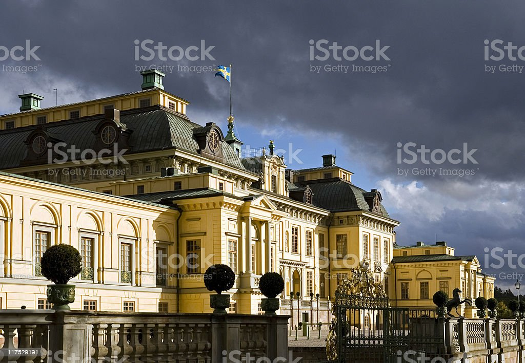 Drottningholm palace with storm clouds stock photo