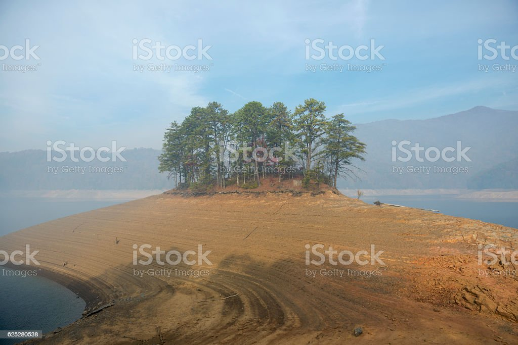 Drought and forest fire smoke at Fontana Lake, North Carolina stock photo
