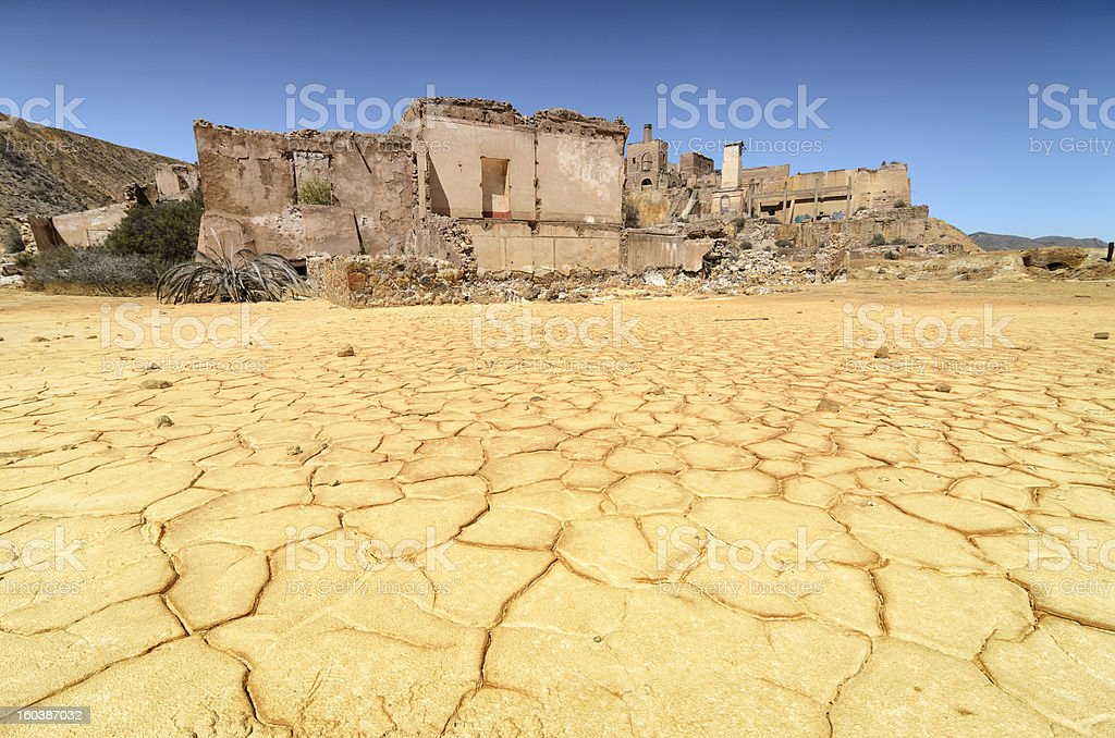 Drought land in old mines stock photo
