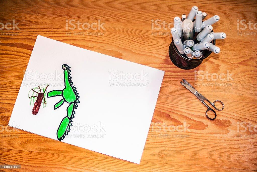 Drowing Dino stock photo