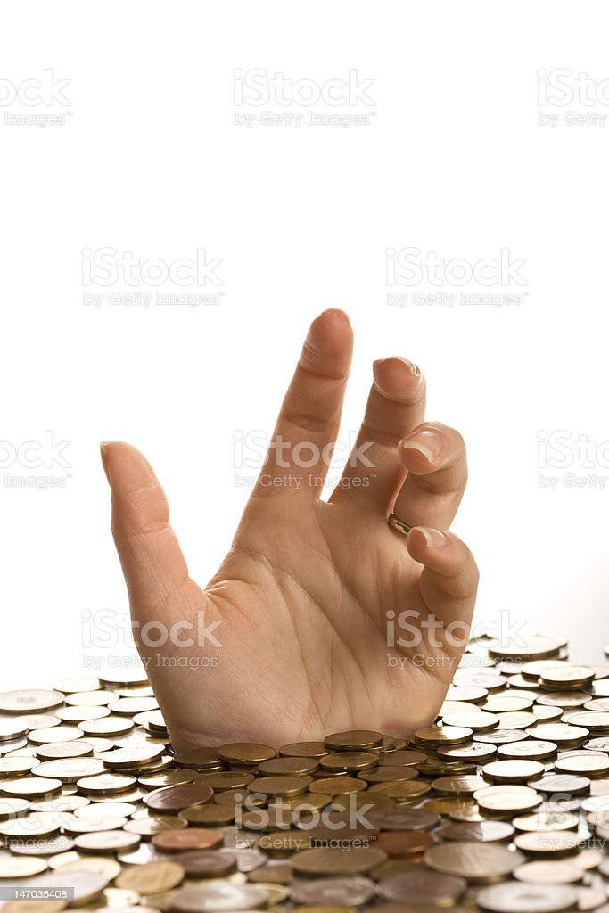 Drowning in debt concept royalty-free stock photo