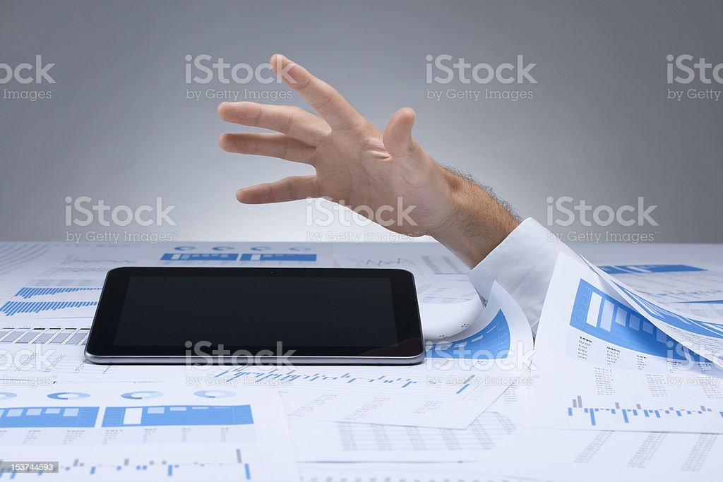 Drowning in paperwork royalty-free stock photo