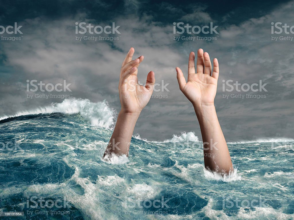 Drowning person stock photo