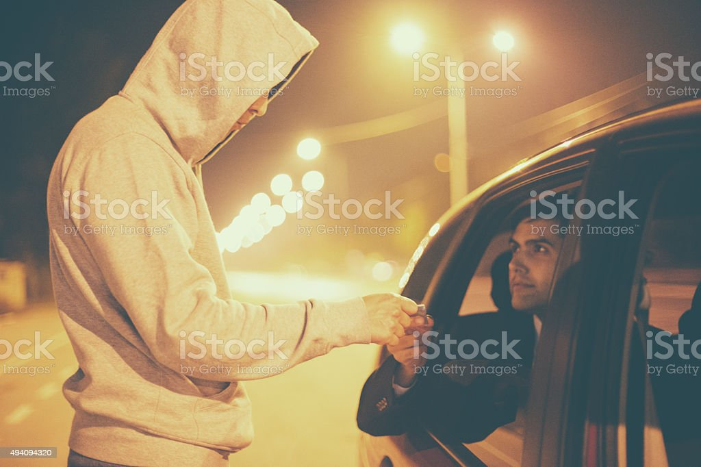 Drug abuse transaction stock photo
