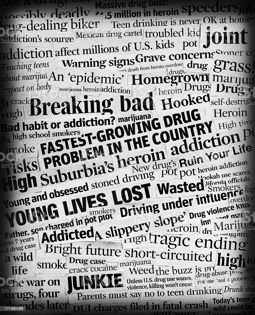 drug addiction headline collage stock photo